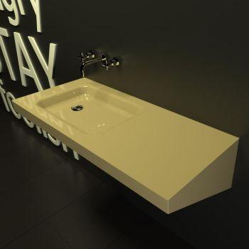 Saddled lavabo bagno sospeso moderno in resina 130 x 45 cm