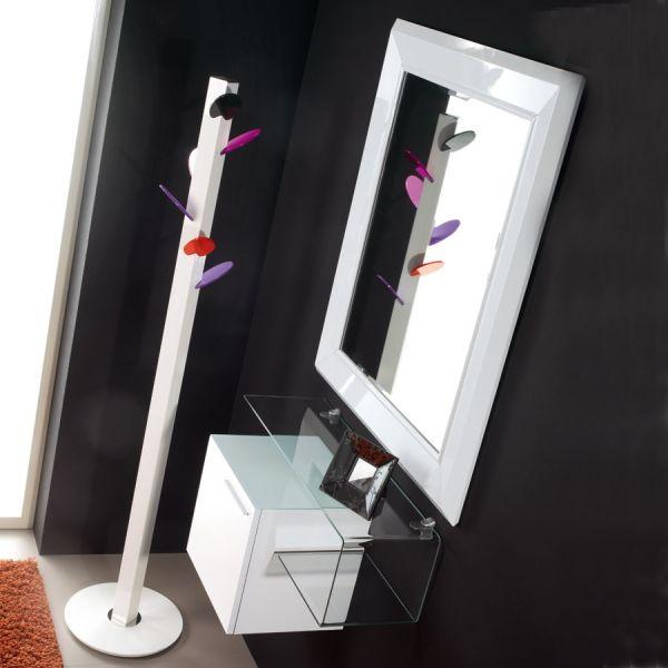 Composizione ingresso moderno in laminato e vetro design Flexi-18