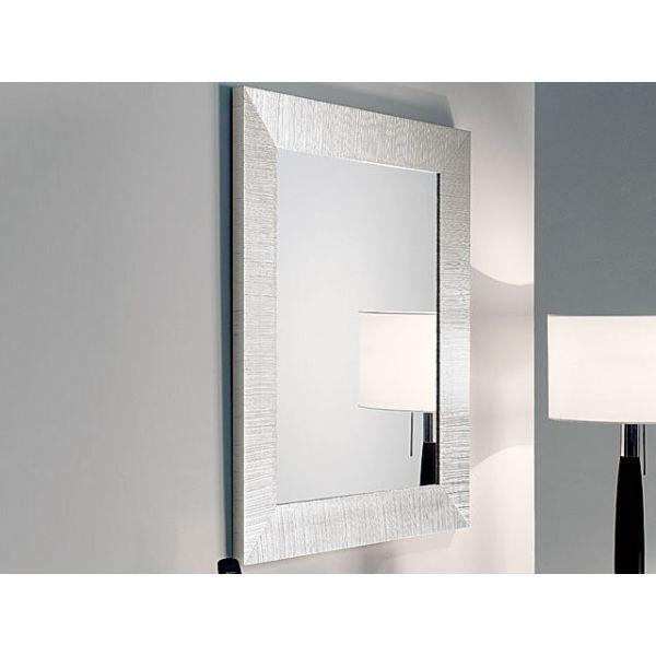 Dettagli su Specchio moderno per ingresso DIVA cornice in legno DECORO  FOGLIA argento