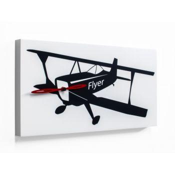 Flyer orologio da parete quadro con aereo stilizzato 48 x 24 cm