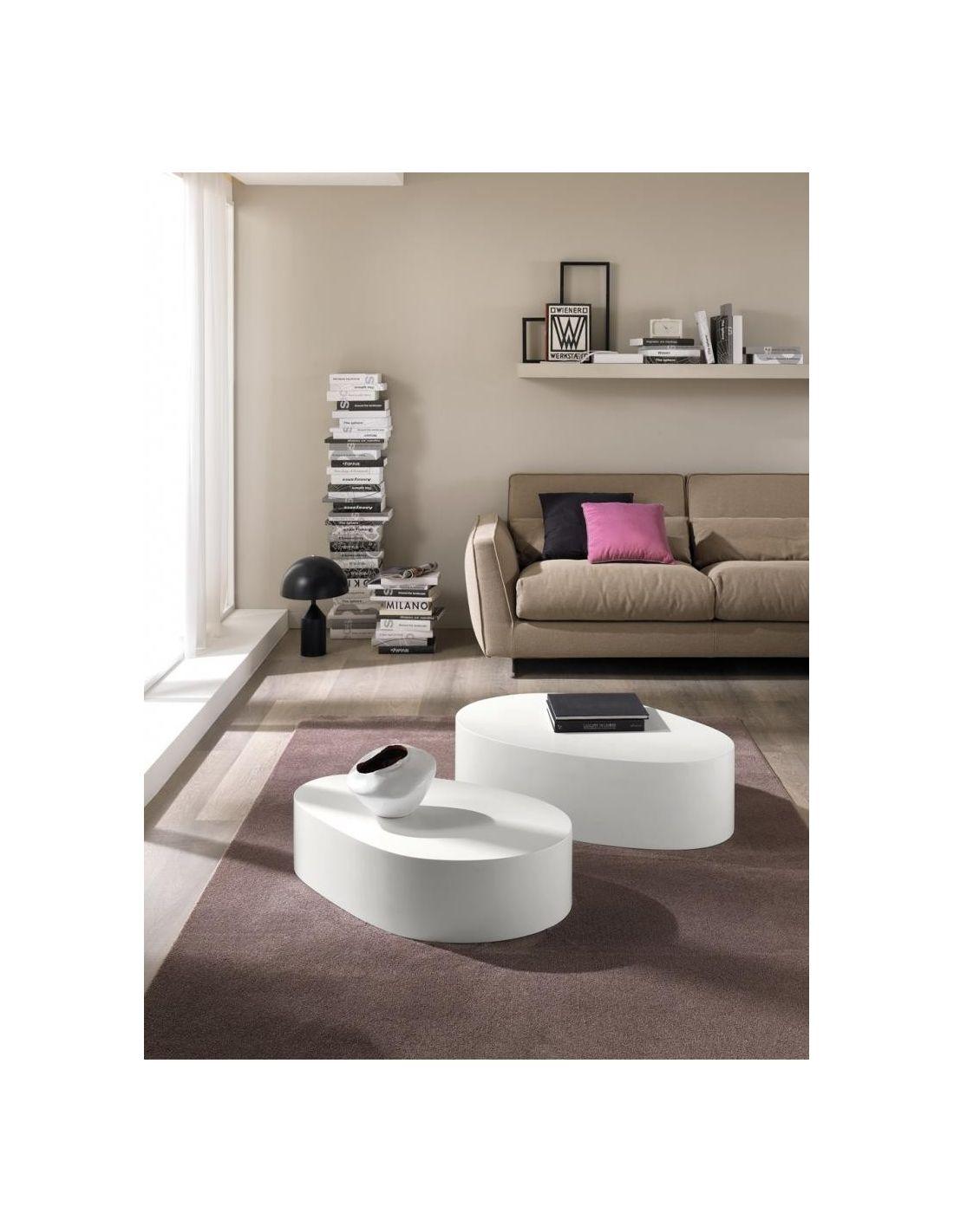 tavolino jekyll ovale da salotto in legno mdf bianco