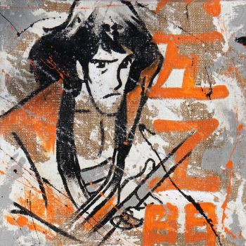 Goemon quadro su tela juta dipinto a mano serie Lupin