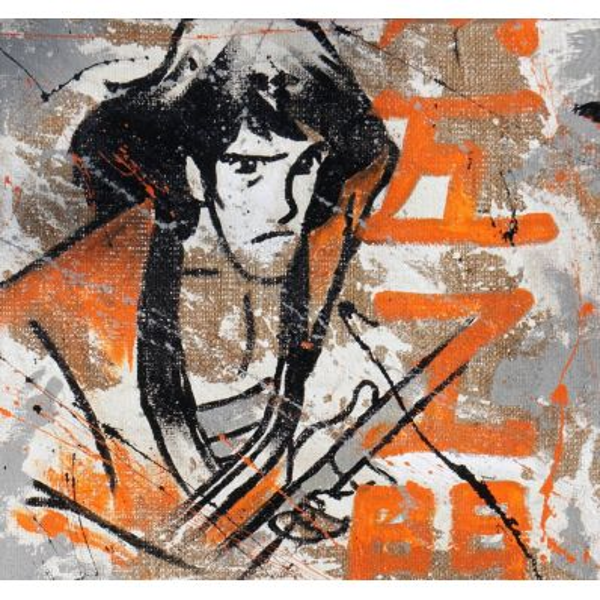 Quadro su tela juta dipinto a mano Goemon serie Lupin