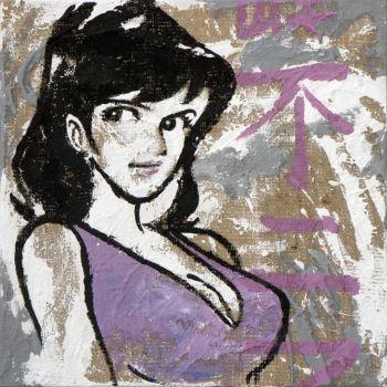 Fujiko quadro su tela juta grezza serie Lupin da 40 a 100 cm