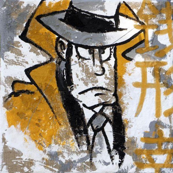 Zenigata Zaza quadro moderno su juta grezza dipinto a mano da 40 a 100 cm