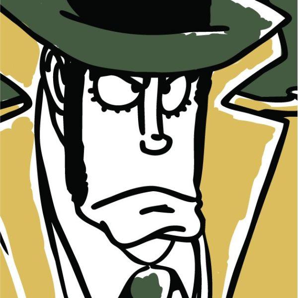 Zenigata Zaza quadro su tela design per arredo salotto serie Lupin