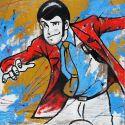 Quadro dipinto a mano su tela juta grezza Lupin Fuga
