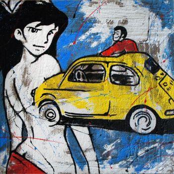 Fujiko 500 quadro su juta dipinto a mano serie Lupin 80x80 o 100x100 cm