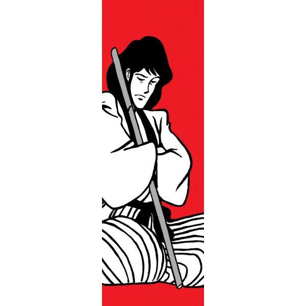 Quadro verticale Goemon dipinto a mano su tela serie Lupin