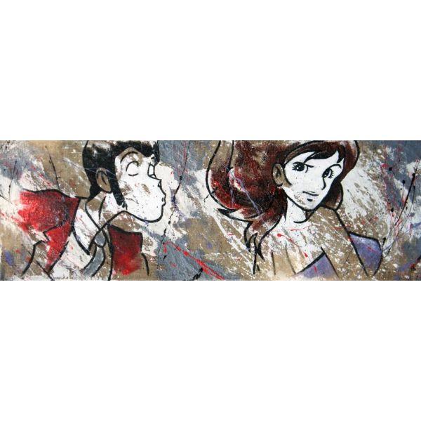 Quadro dipinto a mano su tela juta Lupin bacia Margot
