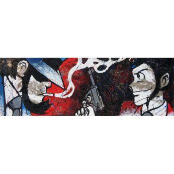 Quadro tela juta Lupin Jigen dipinto a mano 90x30 o 150x50 cm