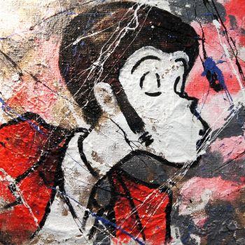 Lupin Duo dittico quadro su tela juta dipinto a mano 60 x 60 cm