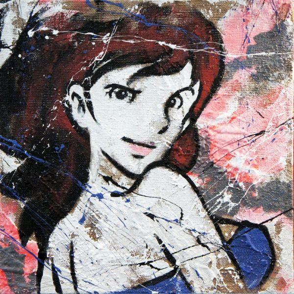 Quadro su tela juta dipinto a mano Fujiko Duo dittico