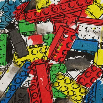 Quadro Lego Disegno 1 dipinto a mano su tela da 40 a 100 cm