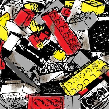 Quadro Lego Disegno 2 per arredo soggiorno dipinto su tela
