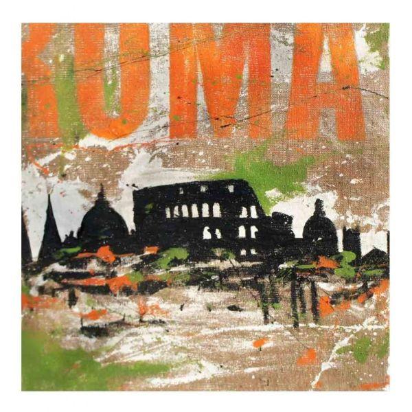 Quadro su tela juta dipinto a mano città di Roma