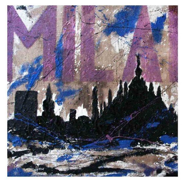 Quadro moderno skyline Milano dipinto a mano su tela juta grezza