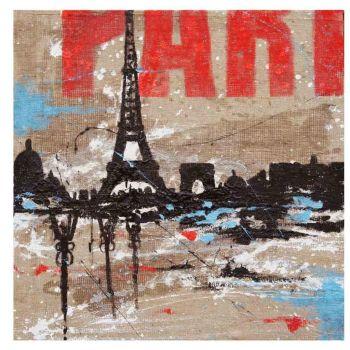 Quadro su tela citta' Parigi per soggiorno dipinto a mano