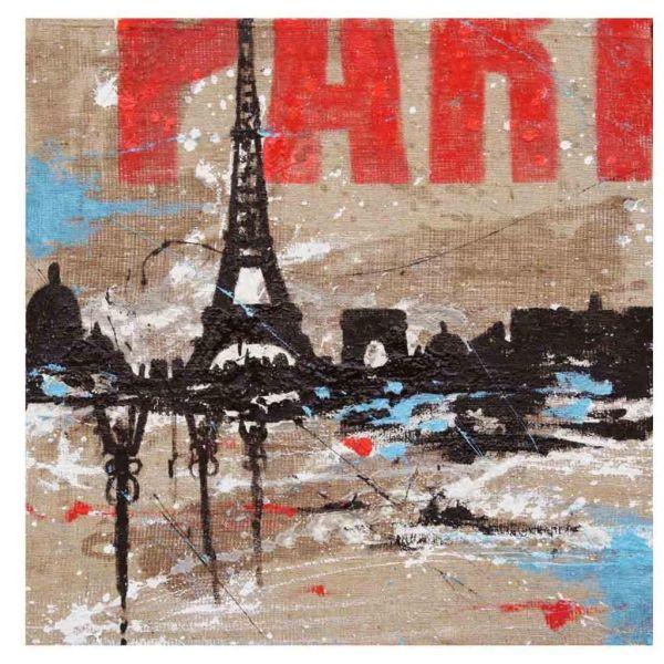 Quadro su tela dipinto a mano per soggiorno città di Parigi