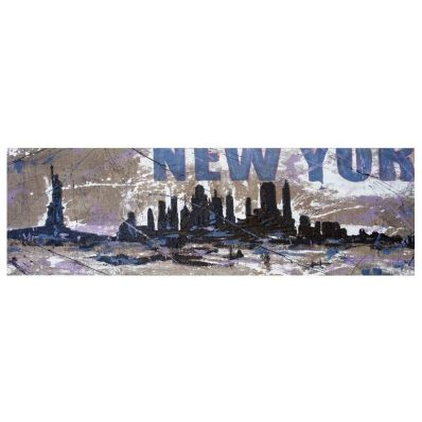 Quadro skyline New York dipinto a mano su tela juta