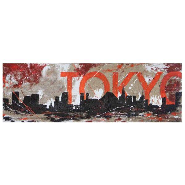 Quadro tela skyline Tokyo su juta grezza dipinto a mano 150x50cm