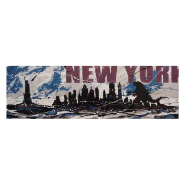 Quadro tela New York Godzilla dipinto a mano su juta per soggiorno