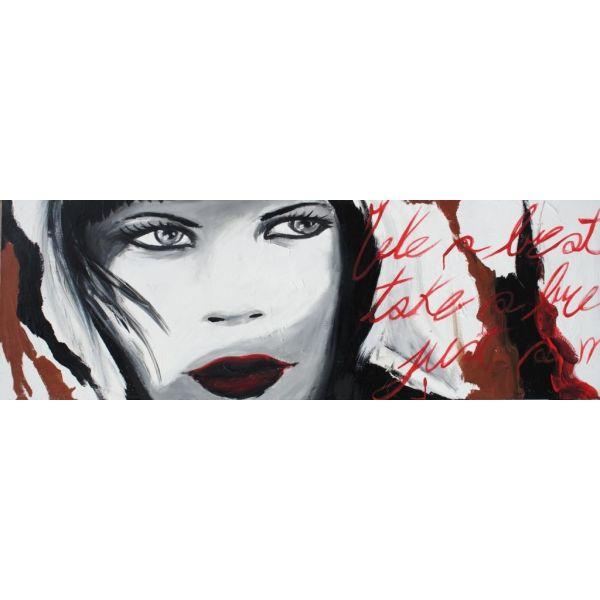 Quadro su tela viso Donna 2 dipinto a mano x salotto 150x50cm