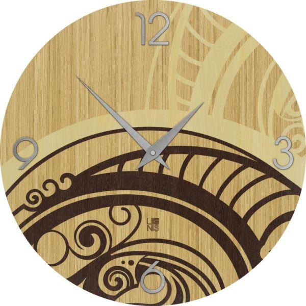 Orologio da parete in legno intarsiato diametro 40 cm Gear