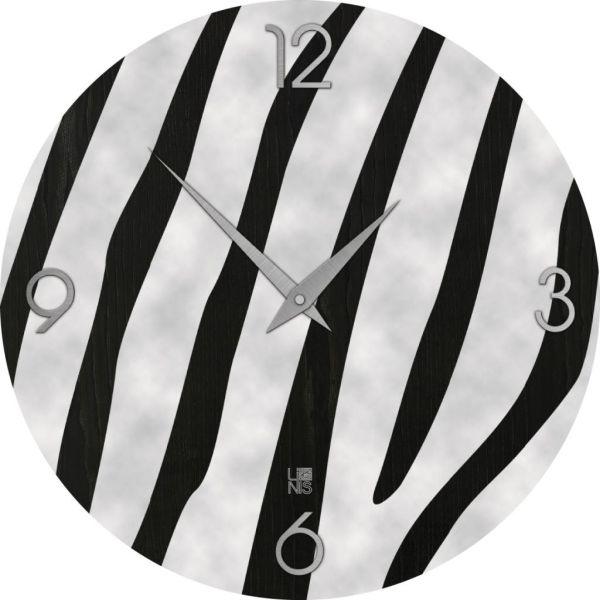 Orologio parete design moderno in legno intarsiato a mano Zebra Cold