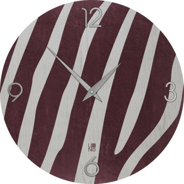 Zebra Colors orologio a muro in legno naturale intarsiato a mano 40 cm