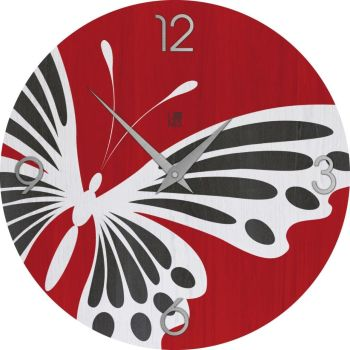 Butterfly Colors orologio design per arredo in legno naturale 50 cm