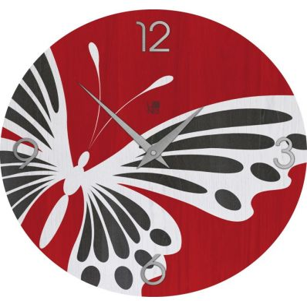 Orologio design per arredo Butterfly Colors in legno naturale 50 cm