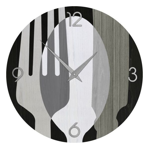 Orologio da parete moderno per cucina sovraposate cold in legno intarsiato mano ebay - Orologio parete cucina design ...