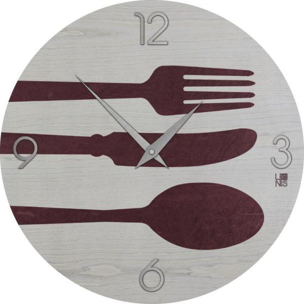 Orologio DESIGN da parete per cucina Cutlery Colors in legno ...