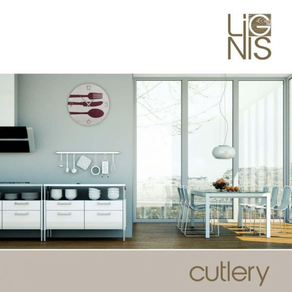 Orologio design da parete per cucina cutlery colors in legno intarsiato a mano ebay - Orologio parete cucina design ...