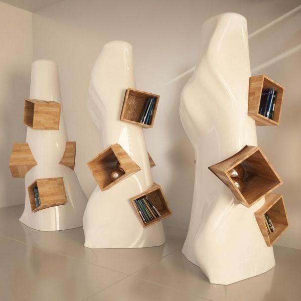 Libreria moderna da terra K2 verticale in resina Bianco Grigio Nero