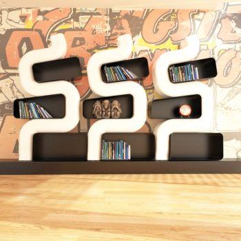 Libreria Ser P da terra design moderno in resina Bianco Blu Rosso