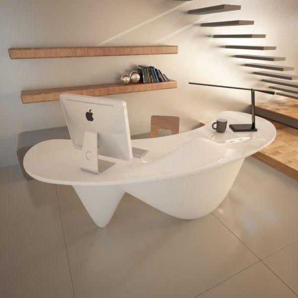 Scrivania ufficio Sinuous design moderno in resina Bianca Verde Arancio