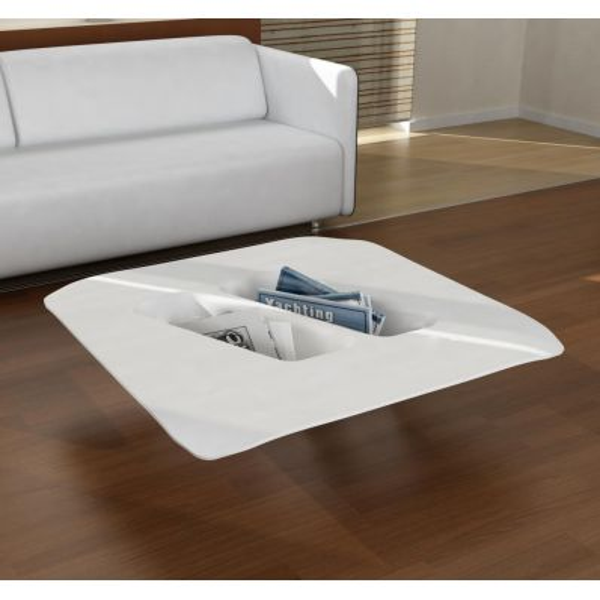 Tavolino da salotto Manta design moderno in resina Bianca