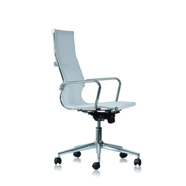 Poltrona ufficio direzionale con schienale alto e braccioli in rete bianca o nera WH