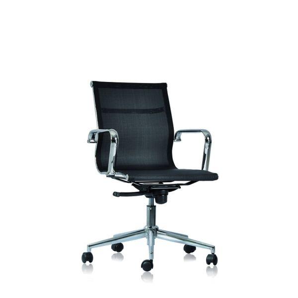 Poltrona da ufficio in rete con schienale basso regolabile bianco o nero WH