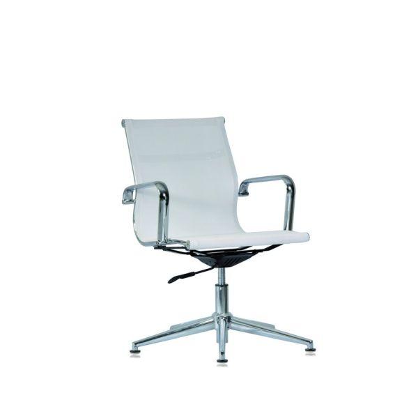 Sedia ufficio dirigenziale fissa in rete bianca o nera WH