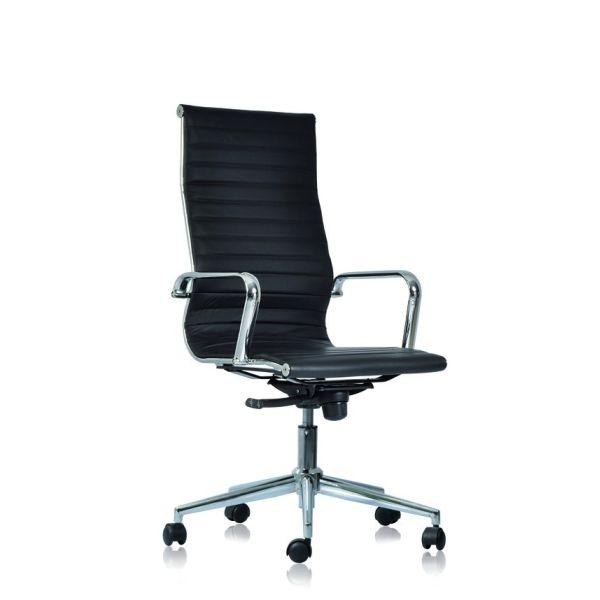 Sedia ufficio direzionale con schienale alto in ecopelle bianca o nera WH