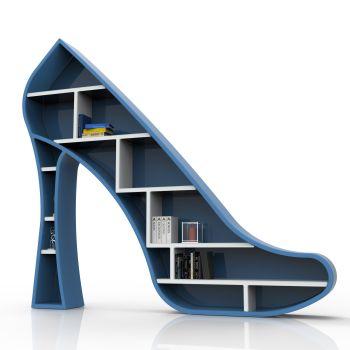 Libreria design Lady da terra a forma di scarpa con il tacco
