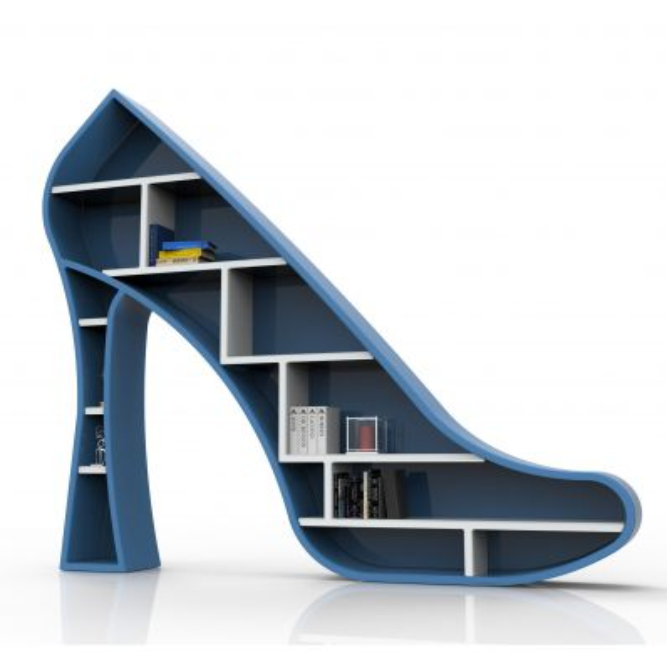 Libreria design da terra Lady a forma di scarpa con il tacco per arredo negozi