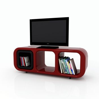 Mobile porta tv Eracle design moderno su ruote in resina 150 cm