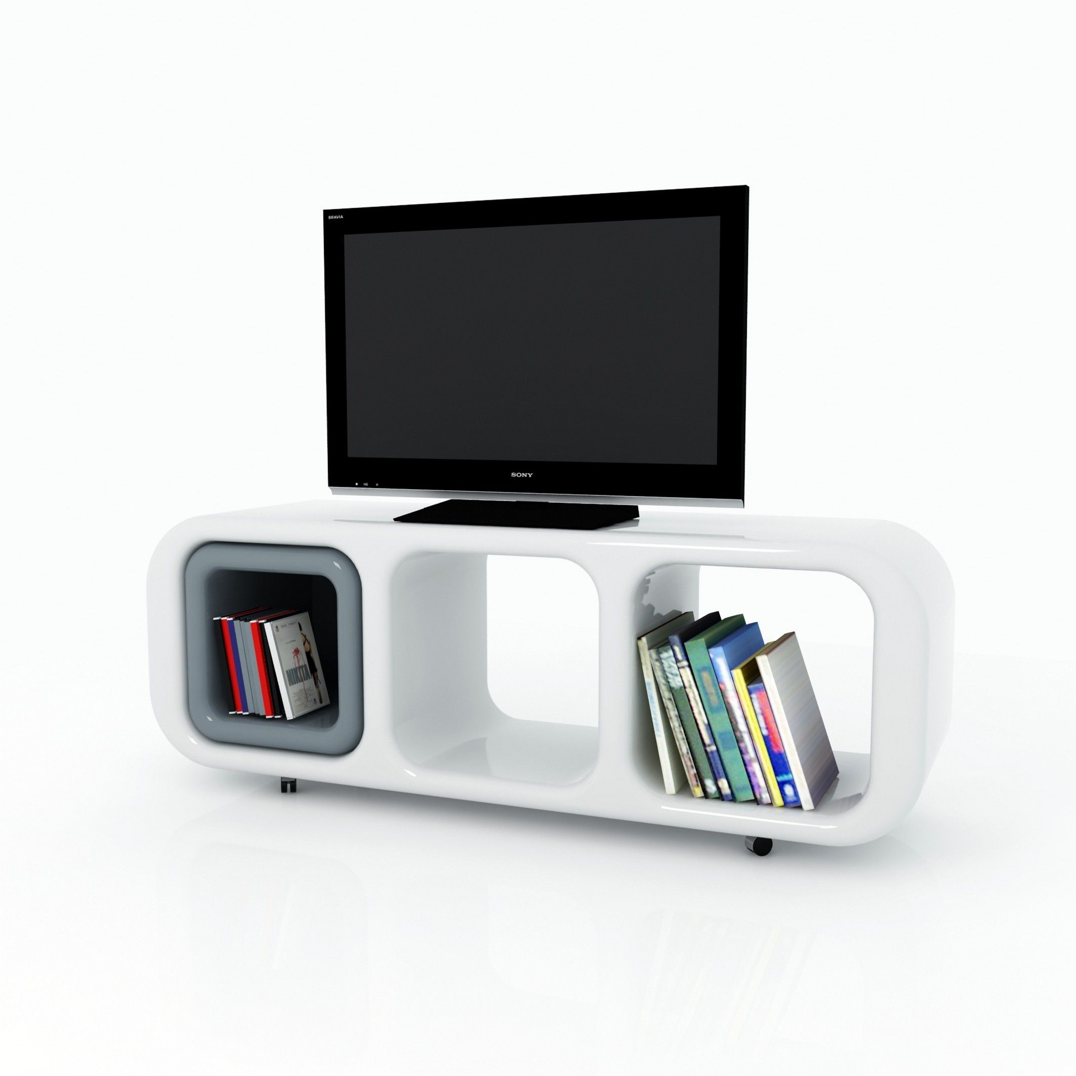 Mobile porta tv eracle design moderno su ruote in resina - Mobile porta liquori moderno ...