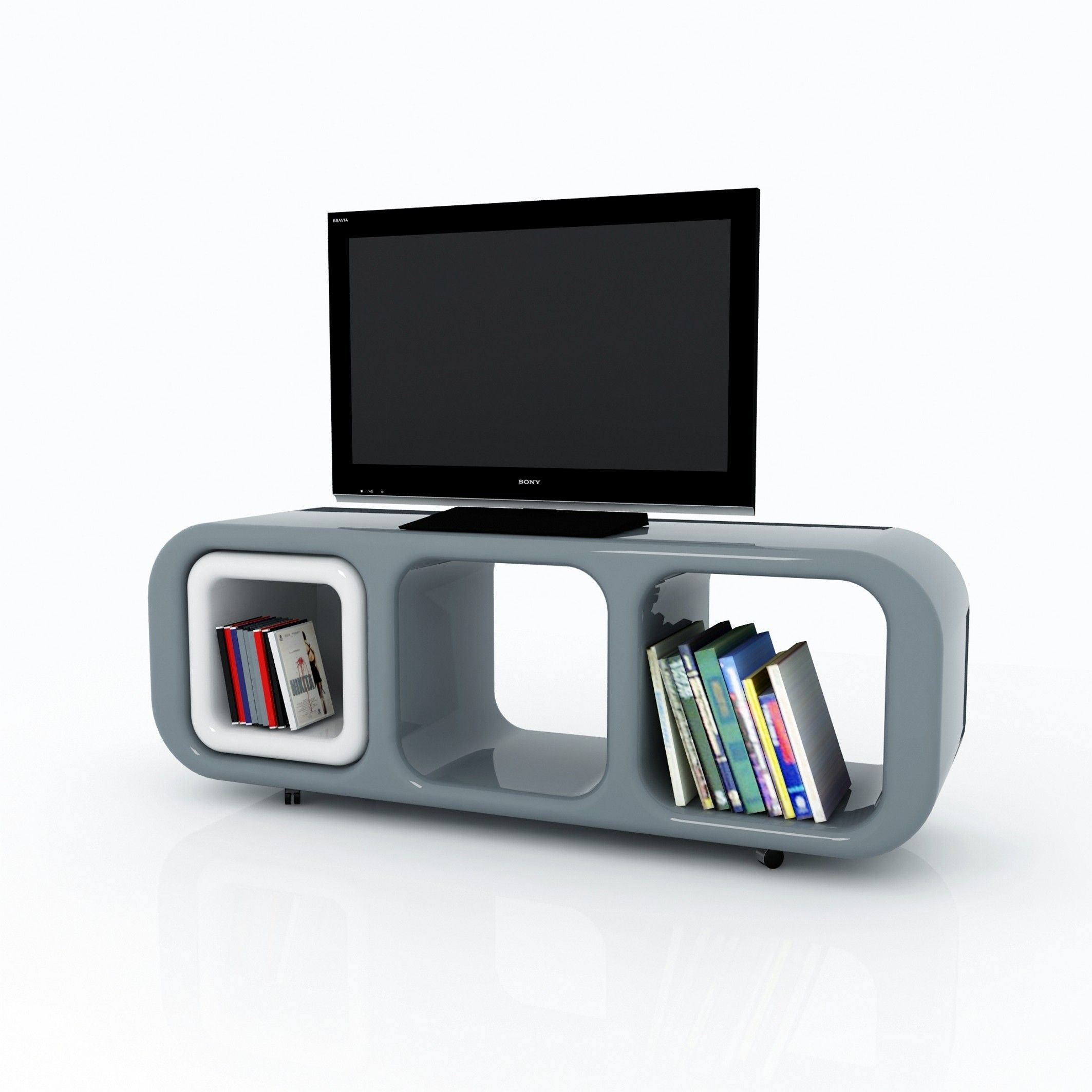 Mobile porta tv eracle design moderno su ruote in resina - Mobiletto con ruote porta tv ...