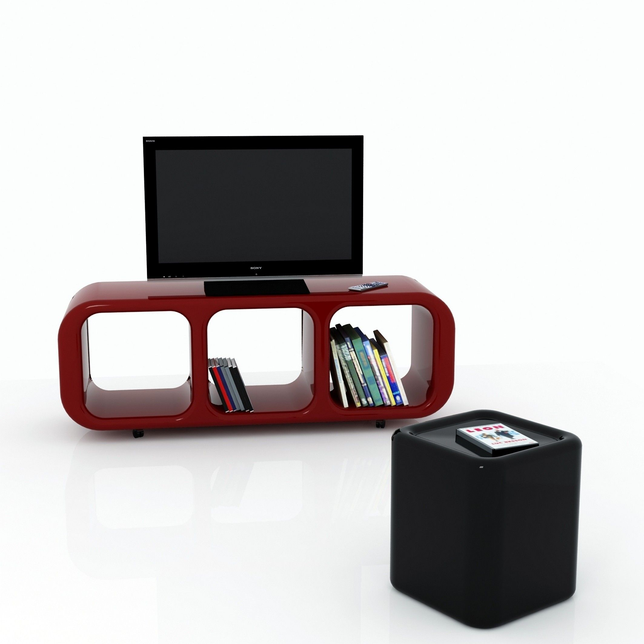 Mobile porta tv eracle design moderno su ruote in resina for Mobile porta tv lago