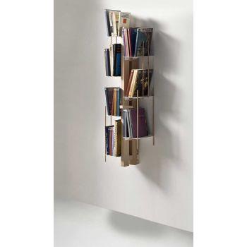 Libreria sospesa Zia Veronica a colonna da parete in legno